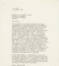 Letter from Mervyn Wall, Secretary of the Arts Council to Edward R.O'Connor of the American Embassy to Ireland. 
